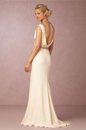 Wholesale Elegant Cream Dresses - 2016 Bhldn Sexy Back Wedding Dresses with Deep V Neck and Crystals Sash Cream Satin Elegant Garden Bridal Gowns Custom Made