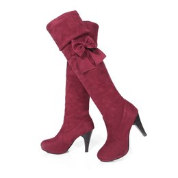 Wholesale Ladies Heeled Waterproof Leather Boots - Autumn Winter Fashion Women Long Boots Waterproof Thin High-heeled Sweet Bow Ladies Over-knee Elastic Boots Shoes Large Size 34-47