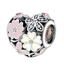 Wholesale Enamelled Heart Charms - Wholesale 925 Sterling Silver Charms Poetic Blooms Enamel CZ European Charm Beads Fit Snake Chain Bracelet DIY Original Jewelry