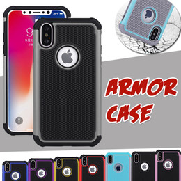 Wholesale Armor Tire - For iPhone X Case 2 in 1 Hybrid Tire Pattern Armor Impact Heavy Duty Shockproof Protection Rubber TPU + PC Cover For iPhone 8 Plus 7 6 6s