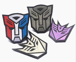 Wholesale Military Garment - 3.15*3.15 inch Transformers Embroidered patches with magic stick armband military badge Autobots Hawks GPS-030 garment accessories