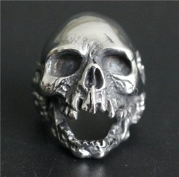 Wholesale American Walk - Popular Ring 316L Stainless Steel Jewelry Ring Cool Mens Biker Ghost Walking Skull Ring Death Skull Ring