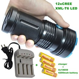 Wholesale Battery Work Lamp - 12T6 20000 LM led flashlight portable lamp Outdoor Hunting LED Flashlight strong torch Hard+4*18650 battery+charger