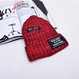 Wholesale Post Springs - Plus velvet tip color mixed double posted cloth standard wool cap men and women couple autumn and winter thick warm knit hat