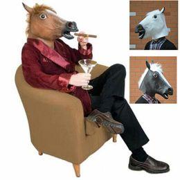 Wholesale Horse Head Mask Wholesale - Full Head Mask Adult Latex Horse Head Mask Animal Costume Toys Novel Party Halloween Funny Tool Party Mask Costume Masks CCA7477 100pcs