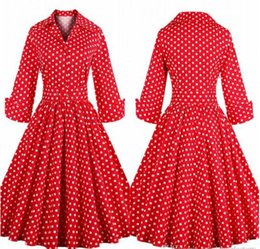 Wholesale Vintage Polka Dot Clothing - Little Red Rockabilly Retro 1950s 60s Casual Dresses 2016 Fall Winter Lapel Neck Long Sleeves Polka Dot Outwear Clothing S-4XL FS0355