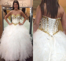 Wholesale corset ruffle prom dress - Glitter White and Gold Quinceanera Dresses 2016 Basque Waist Sweetheart Beaded Crystals Sweet 16 Ball Gown Corset Back Prom Pageant Gowns