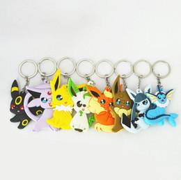 Wholesale Antique Toy Animals - Poke monster cartoon KeyChain Umbreon Eevee Espeon Jolteon Vaporeon Flareon Glaceon Leafeon Silicone Key Ring Kids Toys
