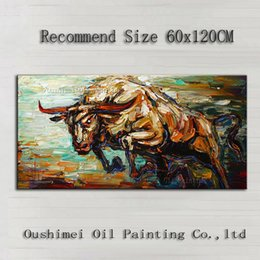Wholesale Bull Canvas Painting - Top Artist Handmade High Quality Abstract Knife Painting Bull Oil Painting For Wall Decoration Jumping Bull Picture On Canvas