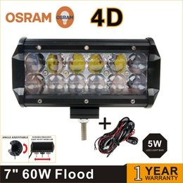 Wholesale Truck Roof Driving Work Lights - 2pcs 7 inch LED Light Bar 60W Osram Chips LED Work Light 4D Fit 4x4 Truck ATV RZR Trailer Roof Offroad Driving Light