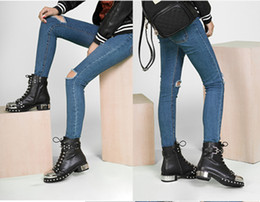 Wholesale Iron Rider - 2017 Iron Head Short Boot Flat With Cow Leather Strap Rivet Rider Boots England Style Large Size Shoes