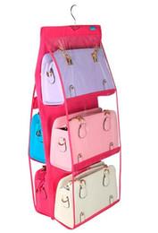 Wholesale Purse Bag Rack - Fashion Hot 6 Pockets Hanging Storage Bag Purse Handbag Tote Bag Storage Organizer Closet Rack Hangers 4 Color