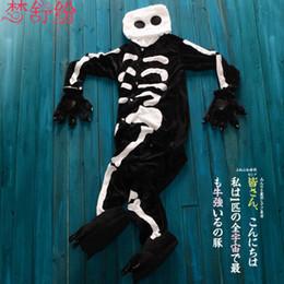 Wholesale Cheap Onesie Dress - New Lovely Cheap Kigurumi Pajamas Anime Cosplay Costume Unisex Adult Onesie Black Skull Dress Sleepwear Halloween S M L XL