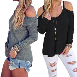 Wholesale Long Loose Blouses For Women - Fashion Clothes For Women Autumn Winter 2016 New Tops knitted Off Shoulder Long Sleeve Casual Loose Blouse S-XL Black Gray WY7035