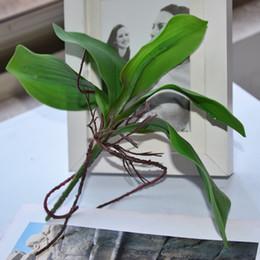 Wholesale Glue Pots Wholesale - High Quality Artificial Flower Orchid Leaves Pu Gluing Texture Leaves Diy Potted Flower Arrangements Home Decoration