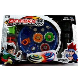 Wholesale Metal Kit Toys - 10set Free shipping! Classic toys beyblade metal fusion spinning top gyroscope 4 beyblade for sale alloy gyro plate kit beyblade sets