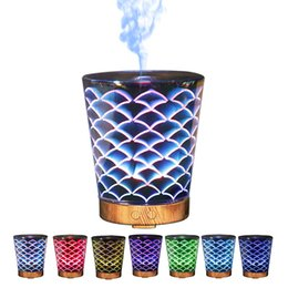 Wholesale Household Goods - Creative Aroma Mist Diffuser Unique Pattern Aroma Diffuser 7 Colors Changing High Quality 3D Humidifier Good For Relax