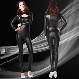 Wholesale Latex Body Suits Women - Wholesale-2PCS set Sexy 100D Faux Latex Sexy Bodysuit Catsuit Thong Body Suits For Women Club Wear Bodies High Cut Night Dance Wear