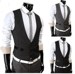 Wholesale Slim Suits For Cheap - New cheap vests for men business casual slim fit mens vests sleeveless suits vest Personality blazers waistcoat men's clothing gray black