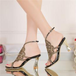 d2a9b1ef 2016 Nuevo Diseñador de Sandalias de Verano Negro Rhinestone de Tacón Alto  Zapatos de Las Mujeres Zapatos de Fiesta de Boda Zapatos de dama de Honor  de ...