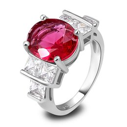 Wholesale Ruby Spinel - AAA CZ Lab Factory Direct Jewelry Red Ruby Spinel 18K White Gold Plated Silver Ring Size 6 7 8 910Free Shipping Wholesale