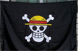 2019 drapeaux de paille Shiping gratuit One Piece Chapeau de Paille Squelette Crâne Drapeau Pirate Luffy Accessoire Cosplay drapeaux de paille pas cher