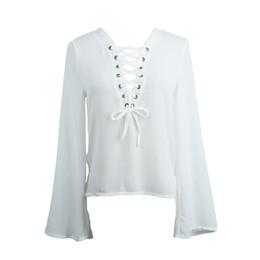 Wholesale Chiffon Lace Pocket Shirt - 2016070622 2016 White Long Sleeve Lace Up Deep V Neck Chest Pockets Casual Shirt Lattice Chiffon Sexy Blouse Top Autumn Spring Women Blous