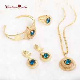 Wholesale Light Blue Crystal Wedding Jewelry - WesternRain Blue Stone 2017 Vintage Charm Necklace Bracelet Earrings Ring Fashion Jewelry Set For Women A202