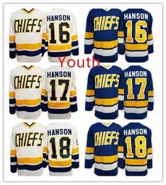 Wholesale Hot Kid S - 2016 Hot 17 Steve HANSON Youth Charlestown CHIEFS Jerseys 16 Jack HANSON ICE Hockey Jersey Kids Boys 18 Jeff HANSON Jersey Mix Order