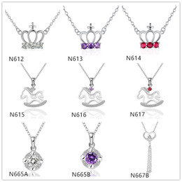 Wholesale Rhinestone Slide Charm Crown - Hot sale women's gemstone sterling silver Pendant Necklace GTP16,crown Trojans 925 silver Necklace(with chain) 10 pieces a lot mixed style