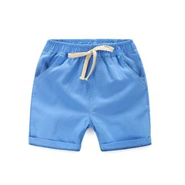 Wholesale Linen Pants Wholesale - High Qualitiy cotton linen Casual Kids Boys Shorts Elastic Waist Solid Color Drawstring Short Pants Summer Children Shorts 5color and 5size