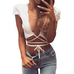 Wholesale Solid Lace Tank Tops - Wholesale-Sexy white cotton bustier crop tops women 2016 new Casual hollow out lace up tank tops summer beach short tops