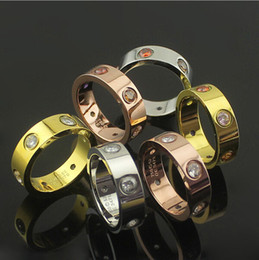 Wholesale Gold Multicolor Rings - White   Multicolor Rhinestone Stainless stee rings, 18K Gold Plated & Rose Gold Plated & Platinum Plated Women  Men Fashion Wedding Jewlery