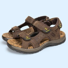 Wholesale Mens Fisherman Sandals - 2016 Summer Men's Sandals Genuine Leather Flat Shoes Slippers Beach Walking Casual Mens Shoes Size 39-45 TC0073 smileseller