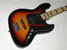 Wholesale Body Jazz Bass - Free Shipping 4 Strings Jazz sunburst bass Guitar White Pickguard Maple Neck