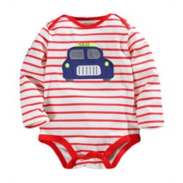 Wholesale Boys 24 Months Pajamas - TAXI Stripe Baby Boys Clothes Fashion Sleeved Bodysuits boy shirts body suit underwear soft comfortable pajamas tops