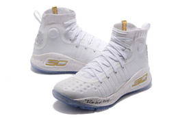 Wholesale high quality kids - Curry 4 kids birthday for sale high quality Stephen Curry 4 Triple White Basketball shoes wholesale price store US4-US12