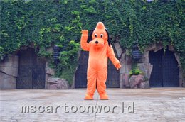 Wholesale Pluto Dog Costume - Pluto orange Dog Cartoon Mascot Costume Adult Size Fancy Dress Halloween fancy dress EPE head costume party x'mas free shipping