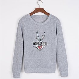 Wholesale Bunny Jacket Woman - Wholesale- New Autumn Winter Women Fashion Cute Cartoon Bugs Bunny Printed Sweatshirts Loose Casual Female Jackets Short Coat Outside Wear