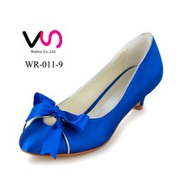 Wholesale Blue Satin Sandals - Royal Blue Wedding Shoes 2016 Bridal low heel Heel Kitten Satin Peep Toe Custom Made Sandals Pumps Sexy Elegant Prom Shoes from size 35-43