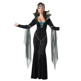 Wholesale Costumes Queens Dress - Custom Made Once Upon A Time Evil Queen Regina Mills Dress Cosplay Costume Halloween