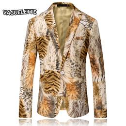 Wholesale Stylish Dresses For Men - Wholesale- Leopard Mens Printed Blazer Homme Tiger Stripe DJ Costume Party Wear Dresses For Singer Men Blazer Designs Stylish Suit Jacket