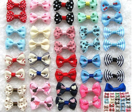 Wholesale Cute Dog Wedding - 100pcs lot Cute Hair Bows For Small Dogs Hand-made Pet Apparel Hair Accessories Hairpin Dog & Cat Grooming Accessories Boutique 20 Colors