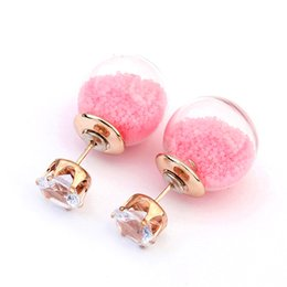 Wholesale double stud ring - 2016 Colorful Beads Glass Stud Earring Transparent Crystal Ball Double Sided brincos Imitation Diamond Earrings For Women