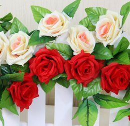 Wholesale String Artificial Fake Flowers - Beautiful 13 Heads Delightful Natural 1 String Artificial Hanging Rose Flower Leaves Plants Bunch Fake Flower Home Party Decor