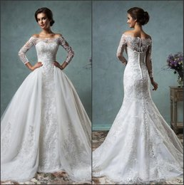 Wholesale Tulle Removable Skirt Wedding Dress - Sexy Sheer Long Sleeves Mermaid Full Lace Wedding Dresses with Off The Shoulder Neck Court Train Bridal Gowns With Removable Over