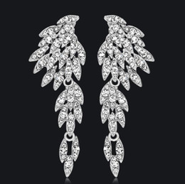 Wholesale Pierced Earring Chain - Rhinestone Crystal Long Earrings for Women Eagle Silver Color Bridal Wedding Earrings Fashion Jewelry aceesories