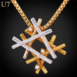 Wholesale New Fashion Gold Plated Tone - New Fashion Necklaces For Women Unique Two Tone Branches Platinum 18K Real Gold Plated Charm Box Chain Necklace&Pendant P796