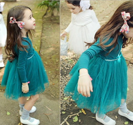 Wholesale Solid Light Blue Ball Gown - brand quality 2016 girls tutu dress Long sleeve waist string cottoprincess party dress middle children clothing peacock green pink white