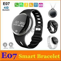 Wholesale Cheapest Fitness Wrist Watches - Cheapest E07 Smart watch Band Wrist Smartband Waterproof Bluetooth Fitness Tracker Health Bracelet Sports Wristband Sync white black DHL 60